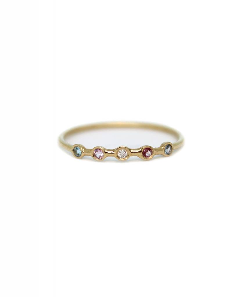 ariel gordon horizon ring with aquamarine, pink tourmaline, diamond, pink tourmaline