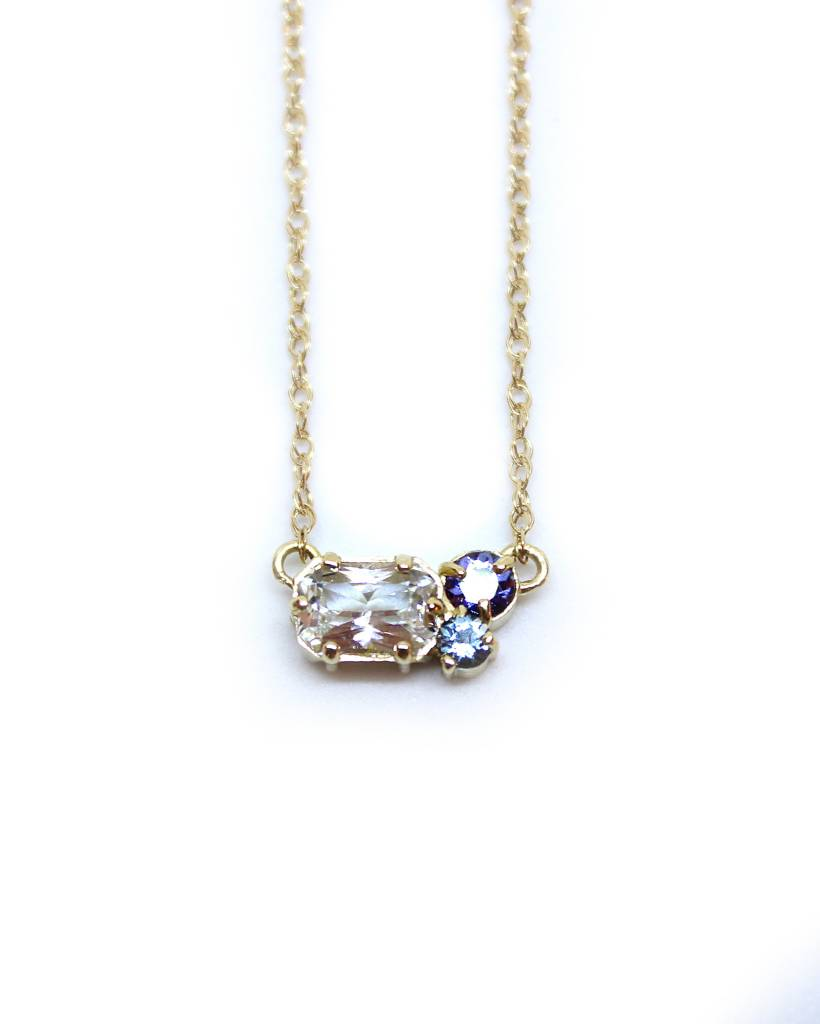 melanie casey jewelry clover necklace - white sapphire