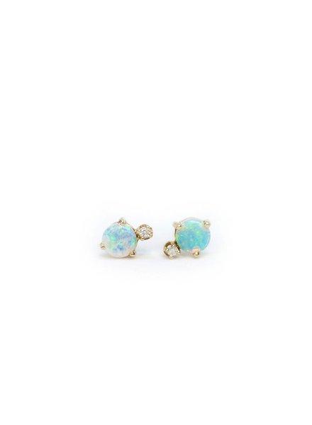 wwake classic opal and diamond earring