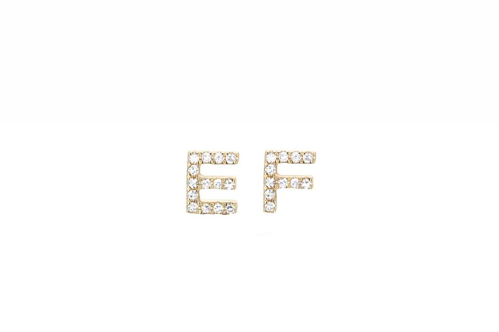 ef collection mini diamond initial stud earring