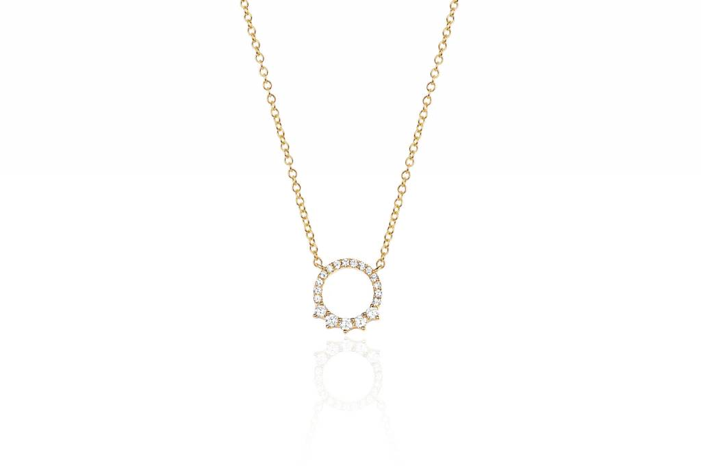 ef collection variated open diamond circle necklace