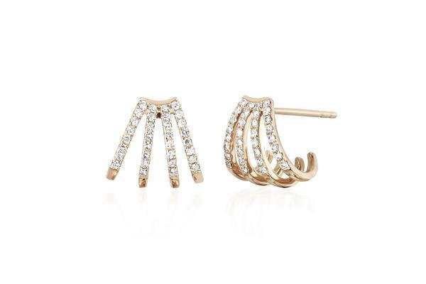 ef collection multi diamond huggie earrings