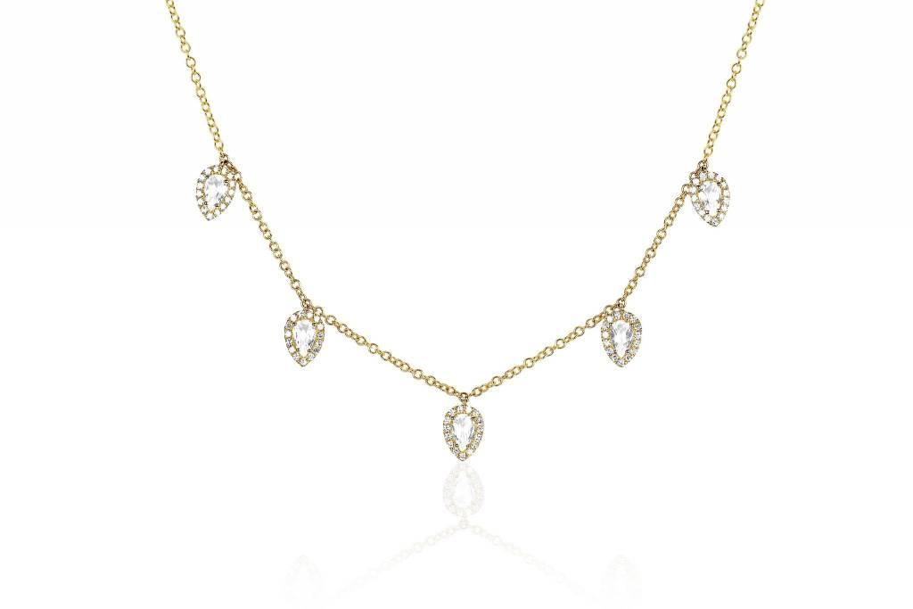 ef collection diamond white topaz multi teardrop necklace