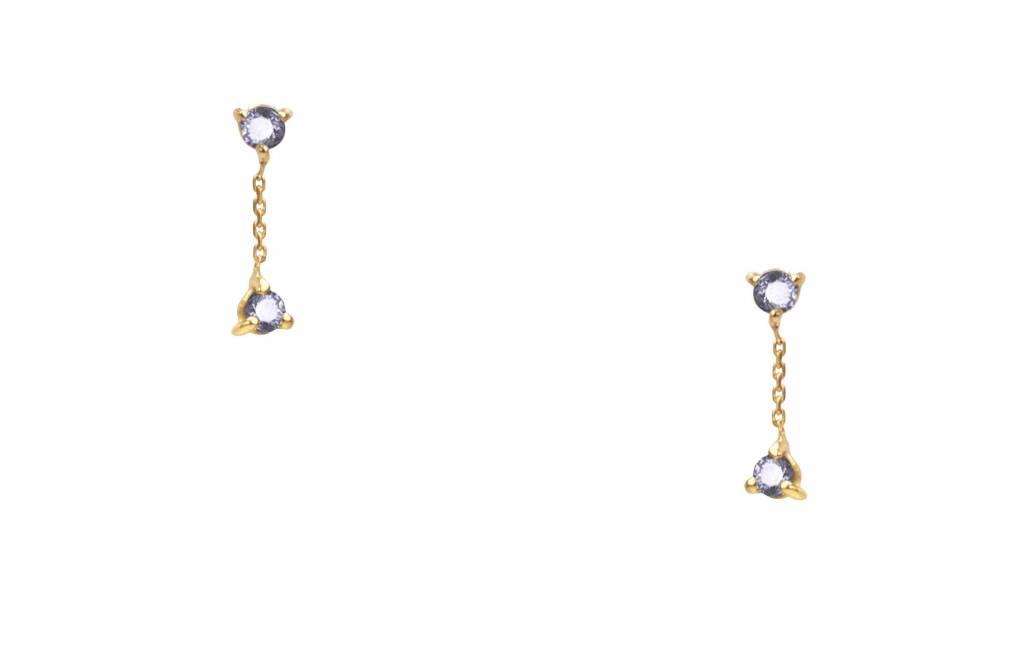 wwake small two step chain sapphire earring - single