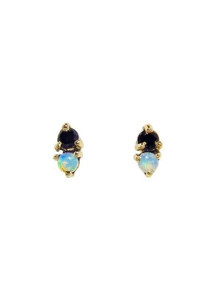 wwake two step earrings opal/black diamond