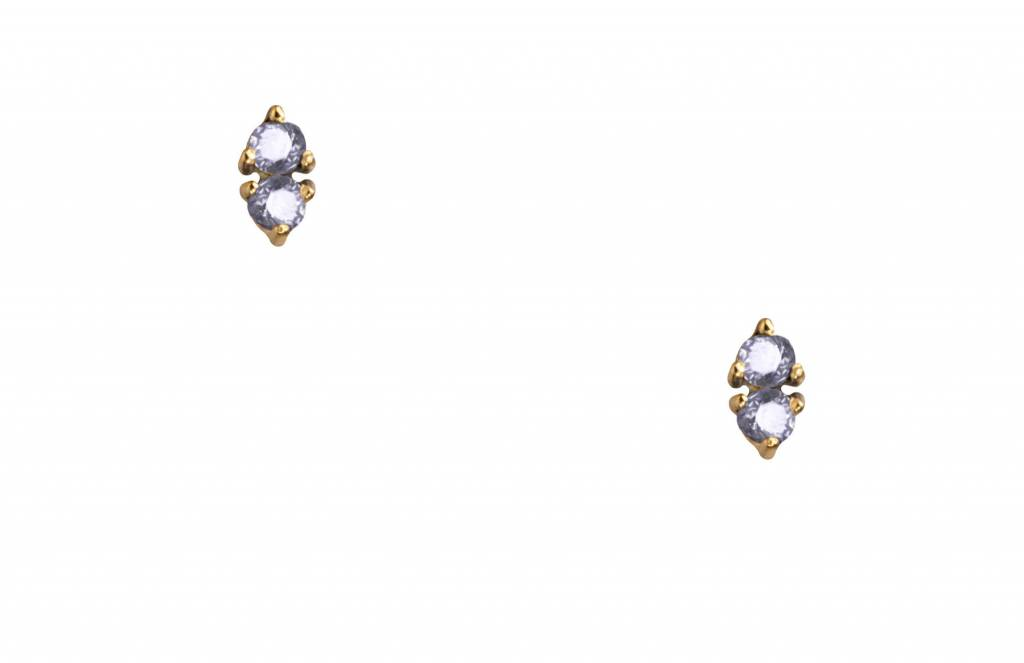 wwake two step earrings sapphire/sapphire - single