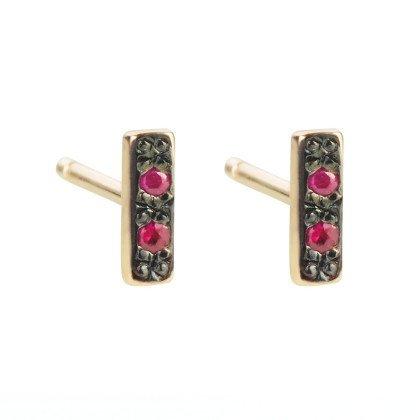 aili jewelry small rhodium bar stud  - single