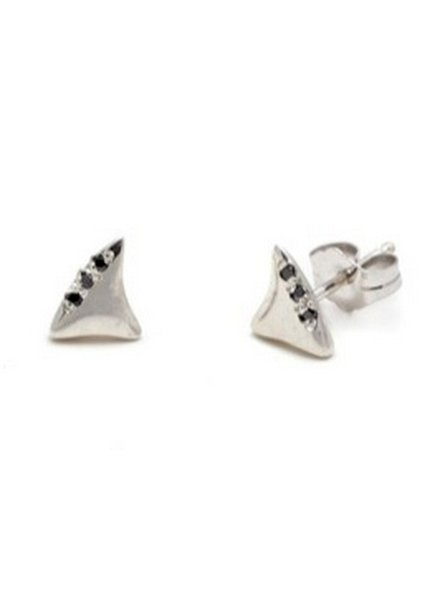 elisa solomon baby shark tooth studs with black diamonds