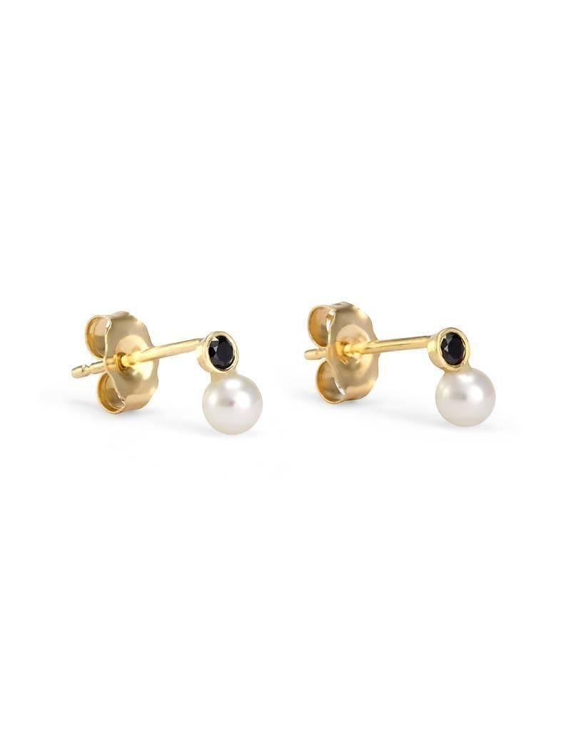 satomi kawakita jewelry mixed media pearl/black diamond stud - single