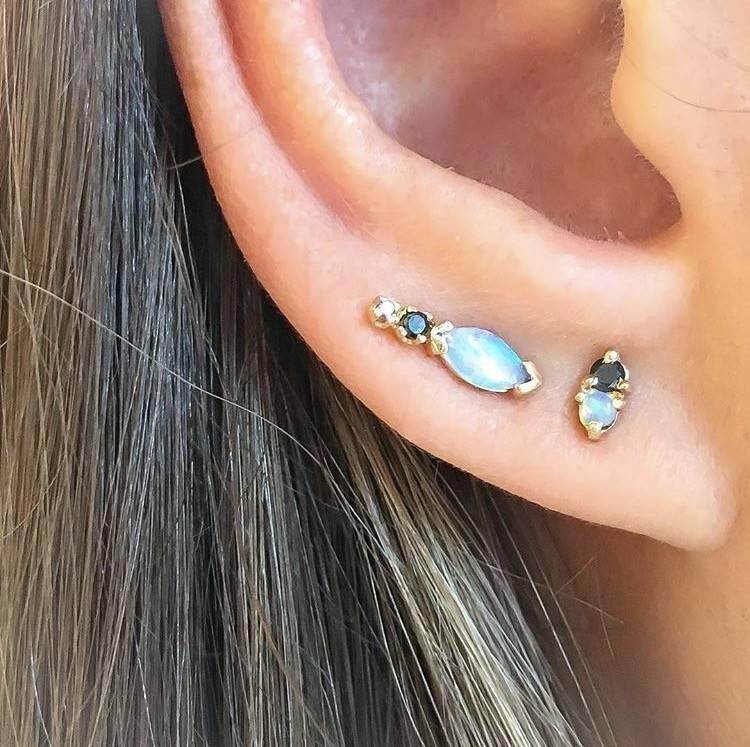 wwake two step earrings opal/black diamond - single