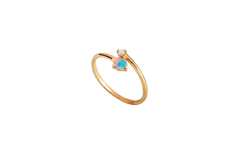 wwake opal and diamond crossover ring
