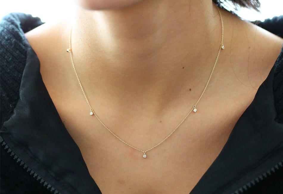 five diamond dangle necklace