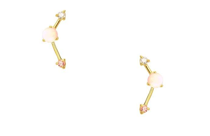 wwake blush three step point earring wht opal