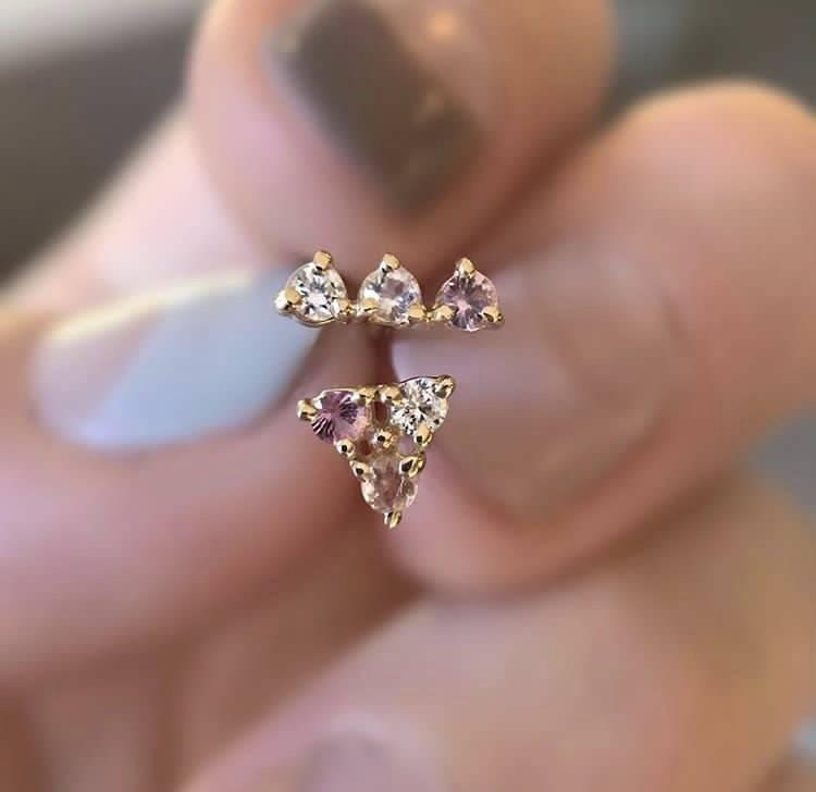 wwake tri stone earrings pink sapphire - single