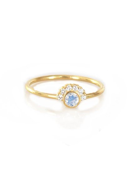 la kaiser rainbow moonstone & diamond aztec ring