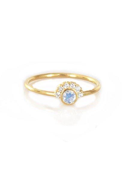 la kaiser rainbow moonstone & diamond aztec ring