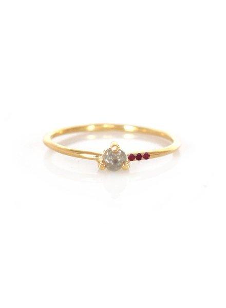 la kaiser salt & pepper & ruby mirage ring