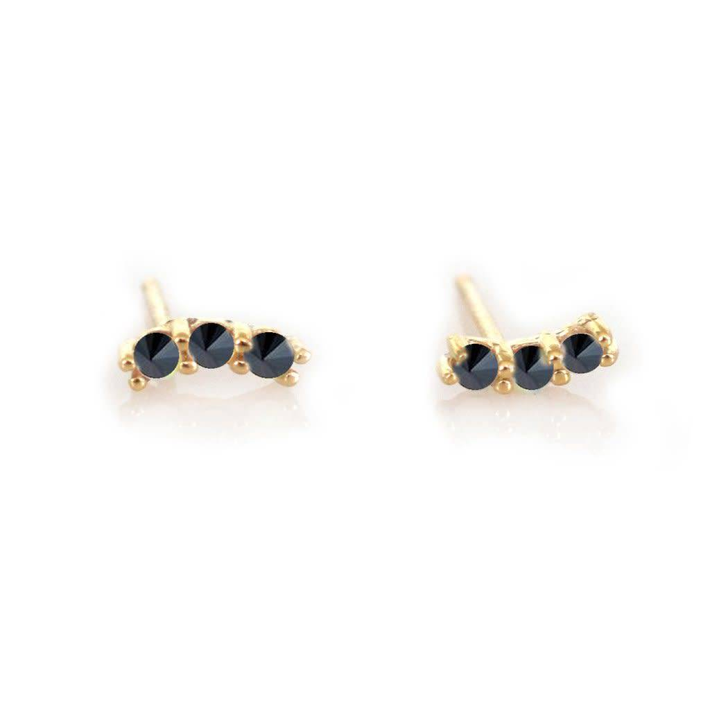 la kaiser mini black diamond curve studs