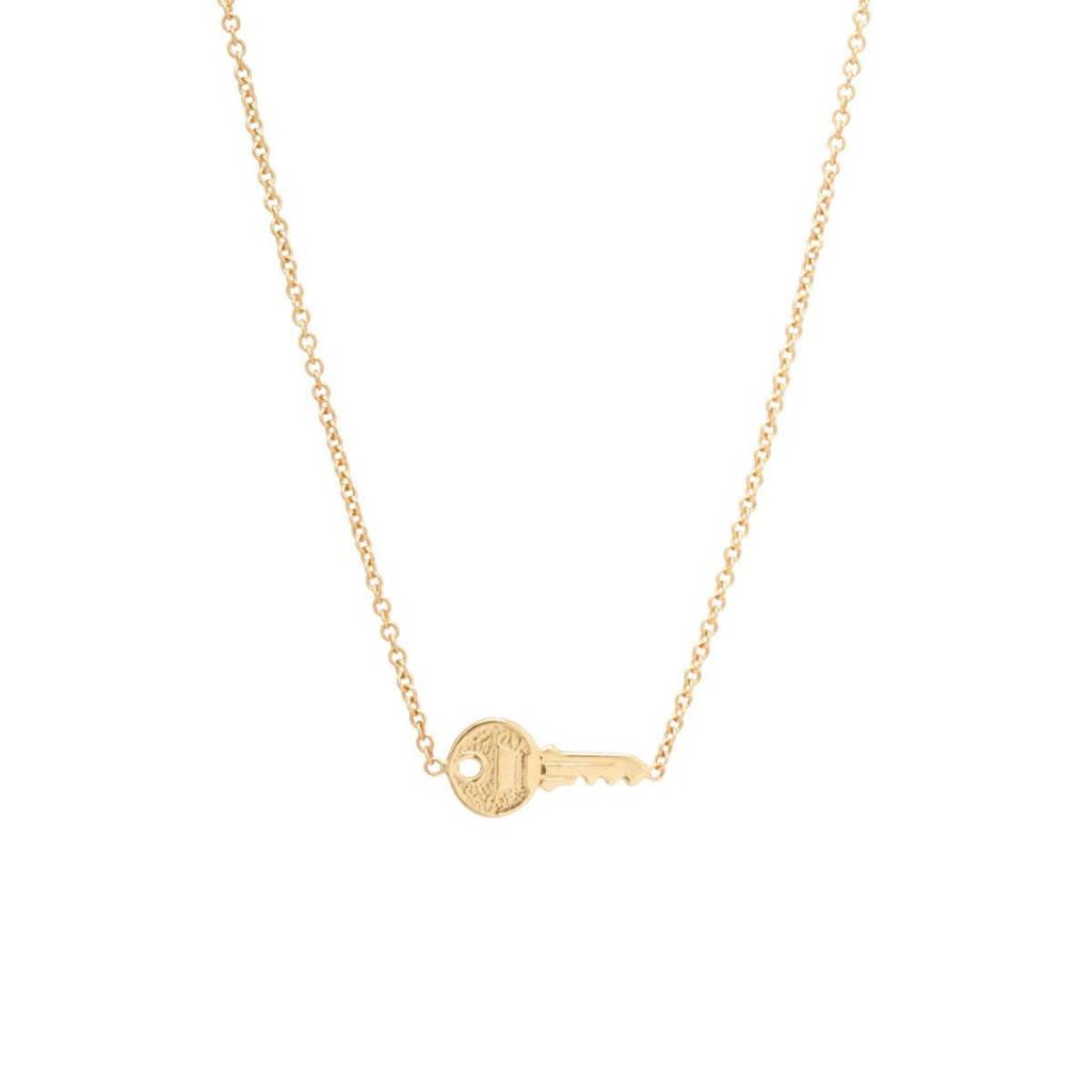 zoe chicco tiny key necklace - The Golden Carrot