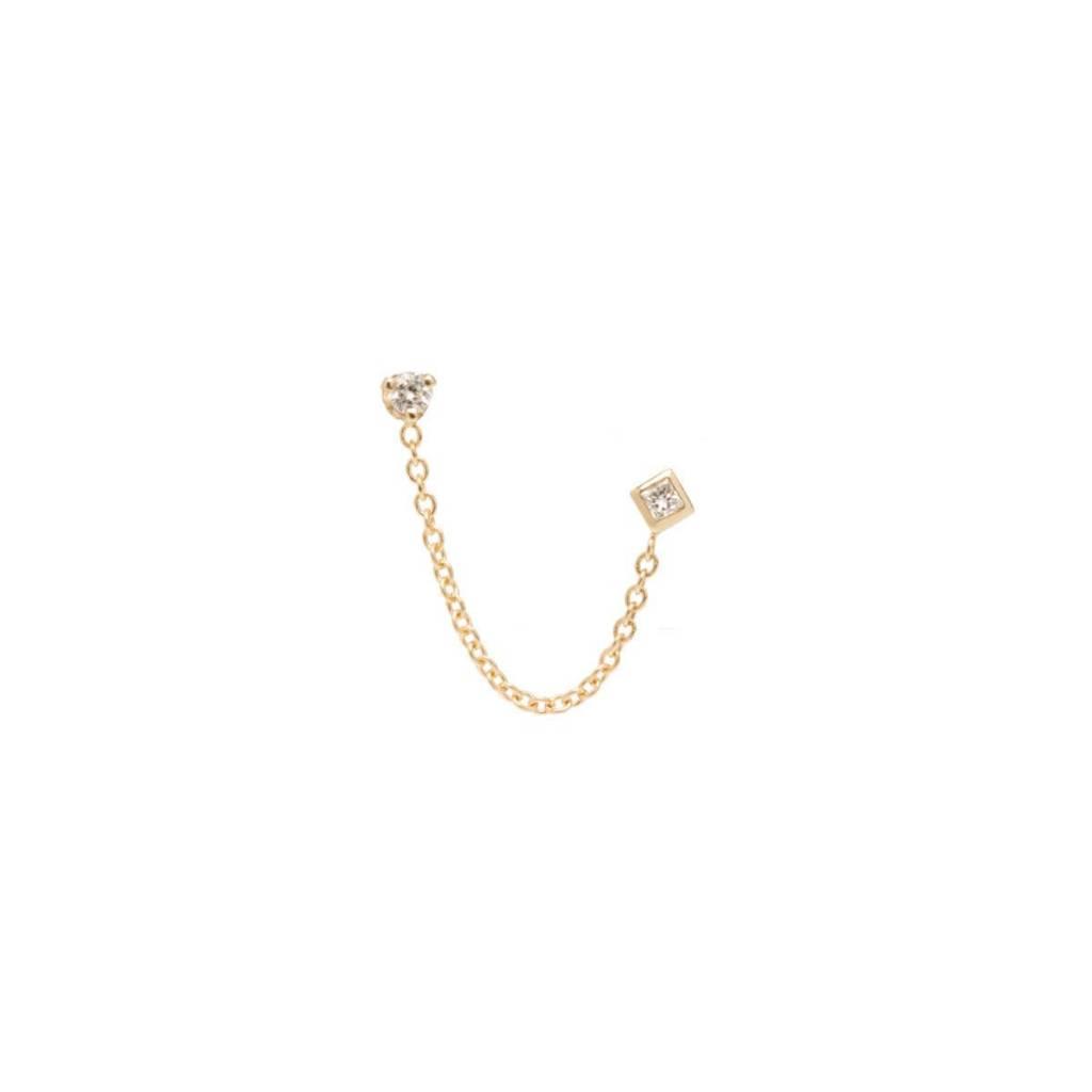 zoe chicco mixed diamond chain stud earring