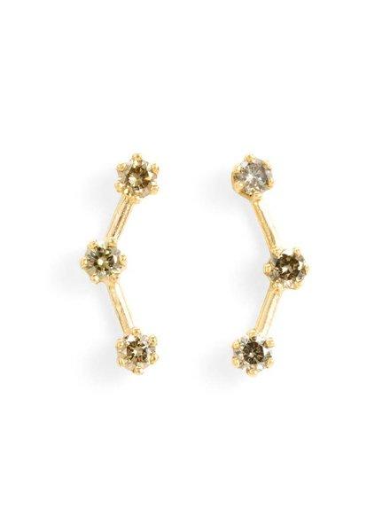 satomi kawakita jewelry brown diamond triple stone stud