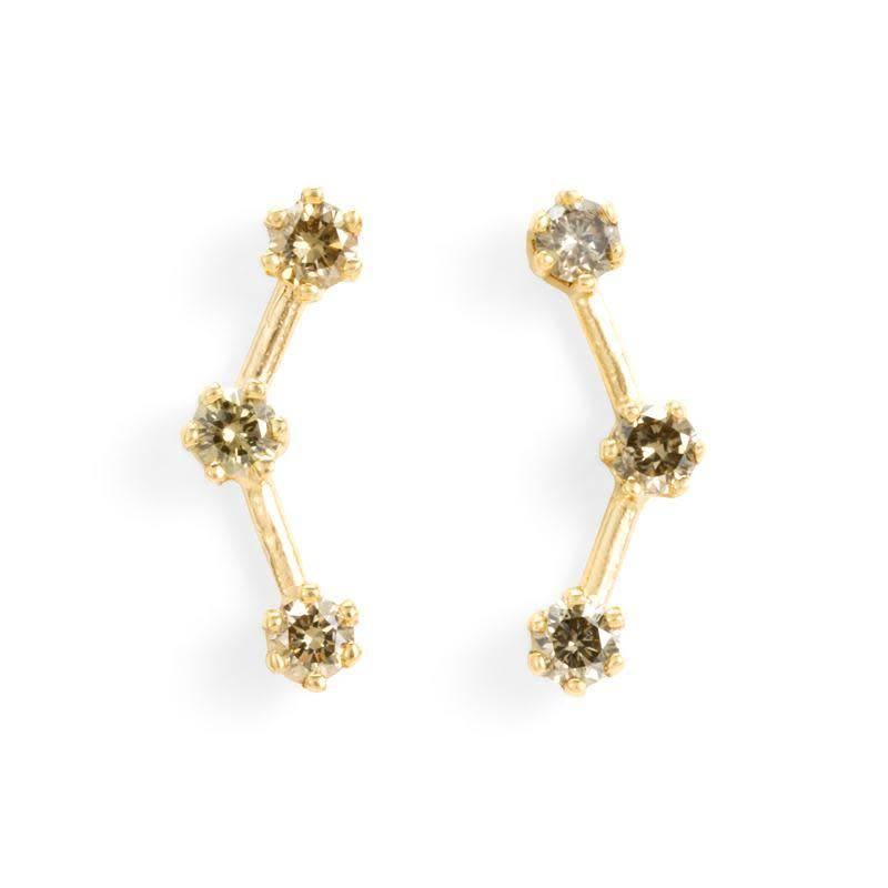 satomi kawakita jewelry brown diamond triple stone studs