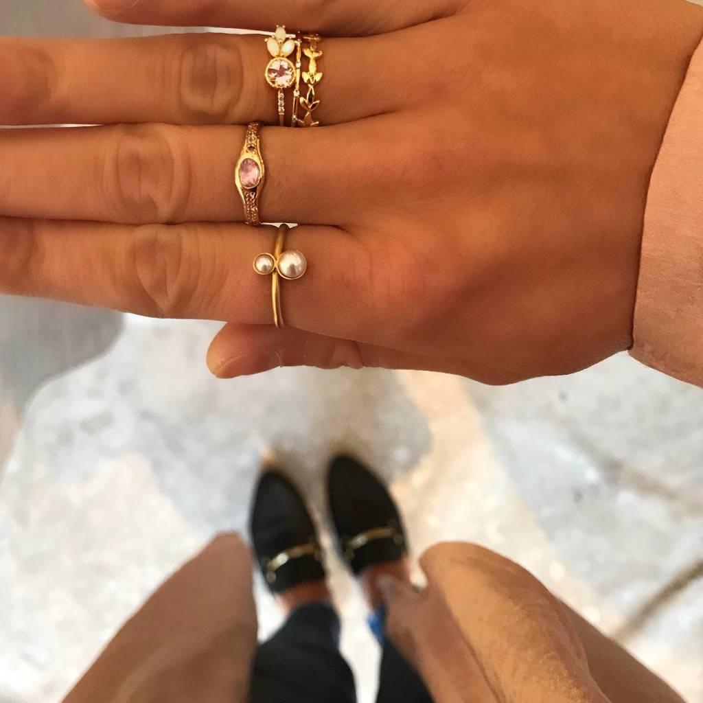 jennie kwon designs morganite diamond opal leaf ring