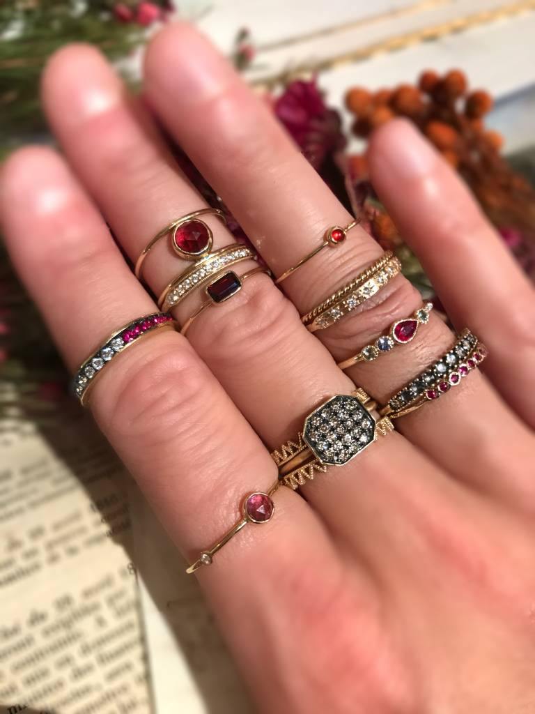 ariel gordon mini rose cut stacking ring with diamond