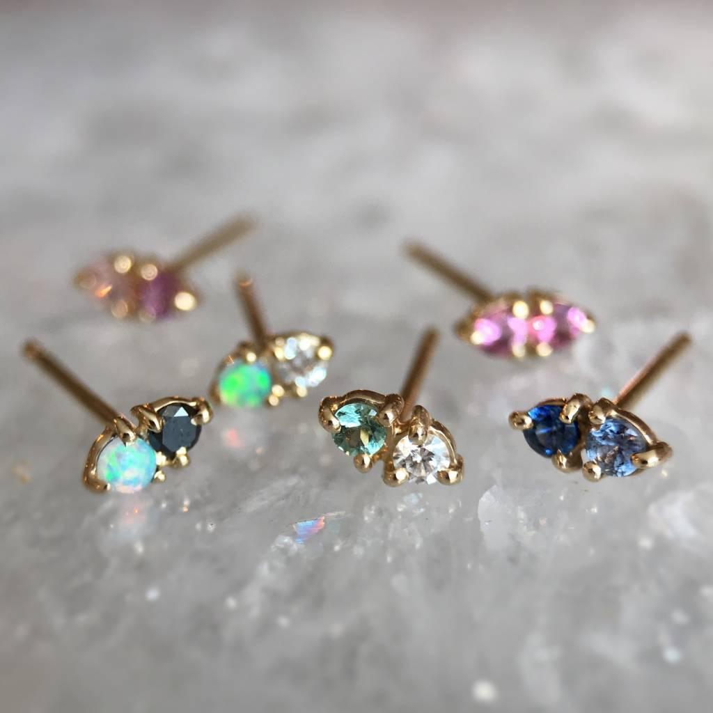 wwake LE two step earrings blue sapphire