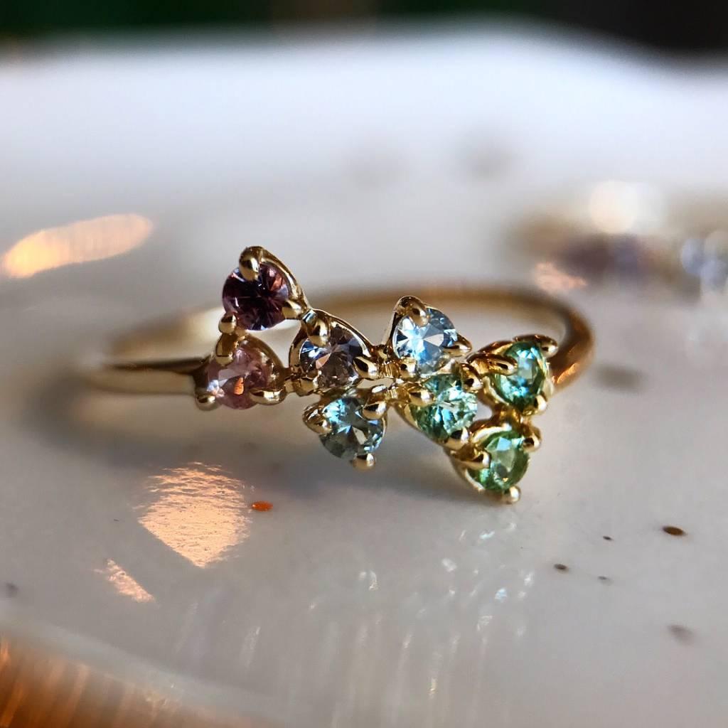 wwake LE bias pink/green stone ring