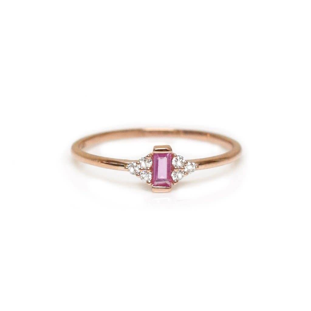 la kaiser pink sapphire and diamond bisoux ring