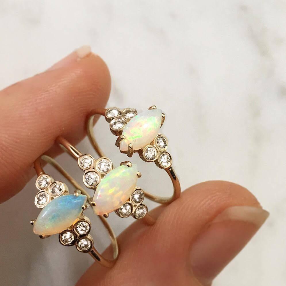 la kaiser opal and diamond mystic ring