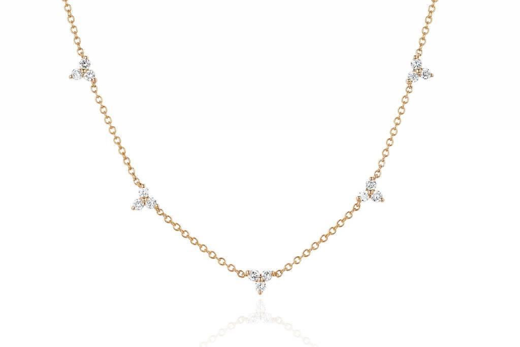 ef collection five diamond trio necklace