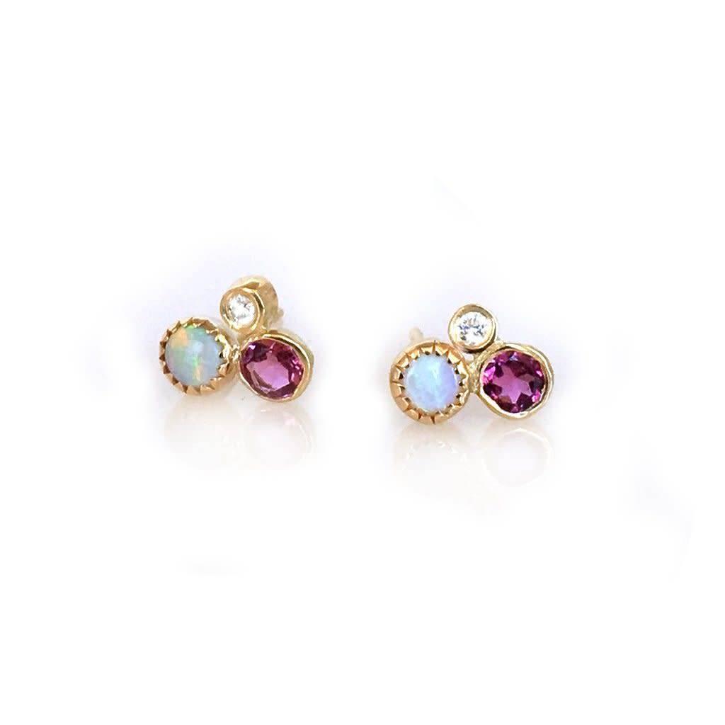 la kaiser opal diamond pink tourmaline cluster studs