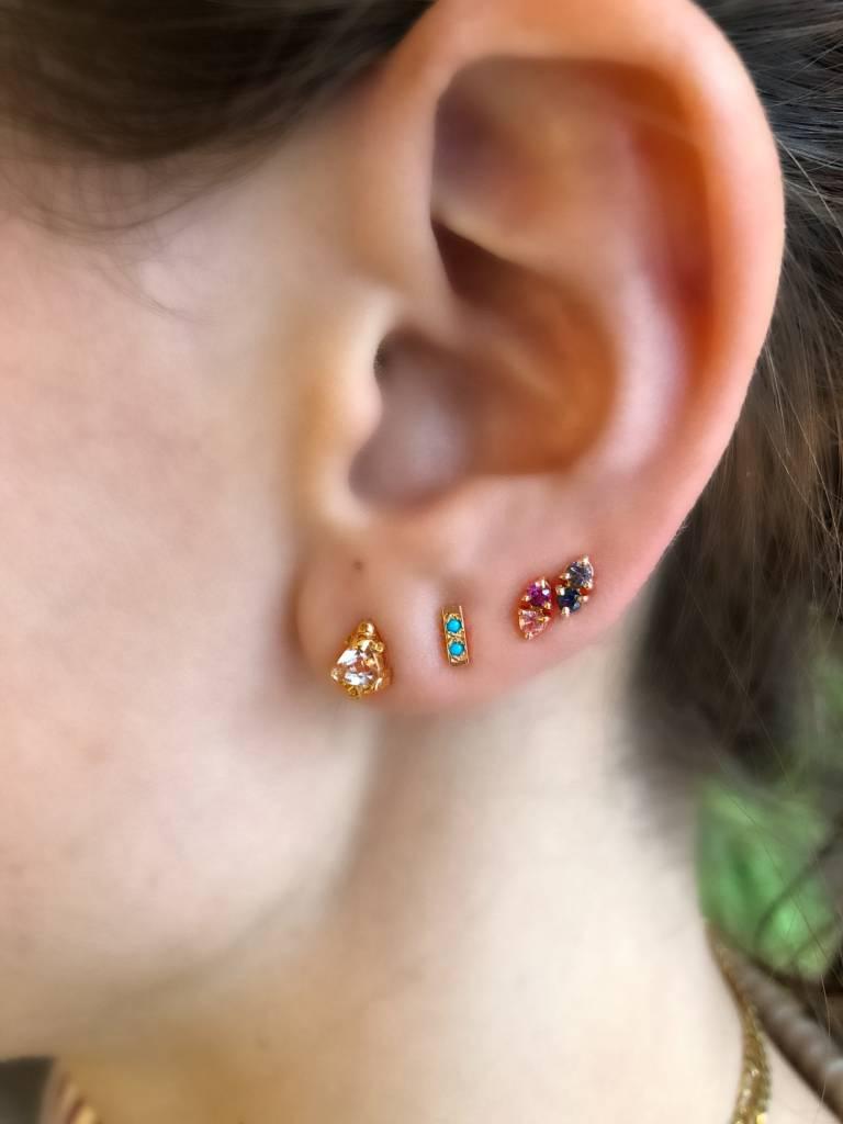 wwake LE two step earrings pink sapphire - single