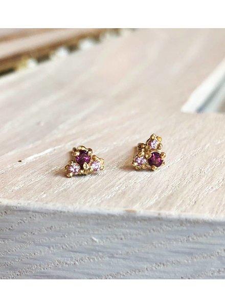 ruta reifen pink sapphire & rhodolite stud