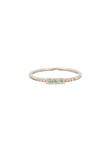 jennie kwon designs 3 green sapphire equilibrium ring