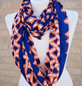Mud Pie Game Day Scarf  Navy Tangerine