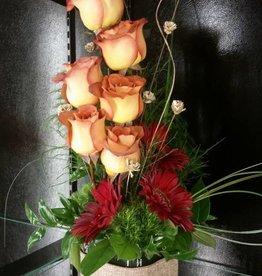 Half Dozen Deluxe Rose Vase