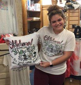 Lucky Bird Clothing Co. Roadmap Oklahoma Pillow