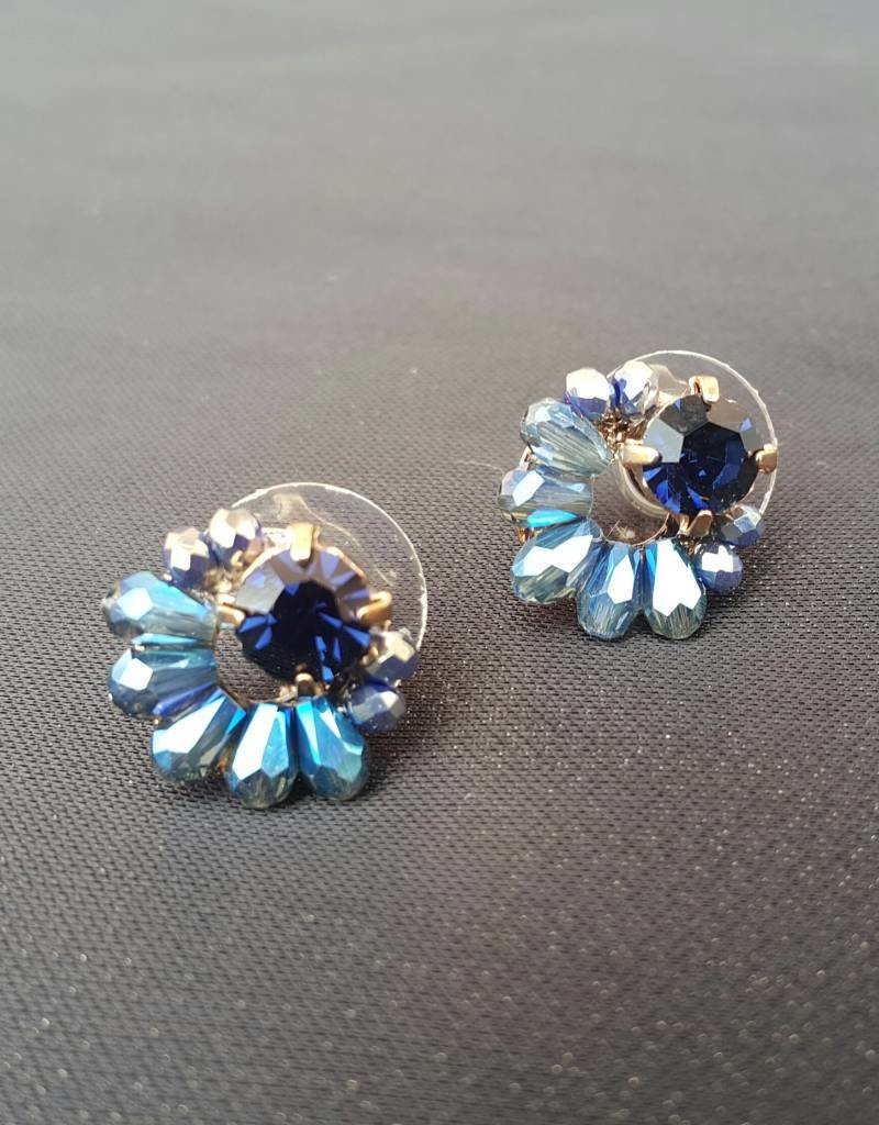 PRUDENCE C - Jewelry Designs Earrings - Prudence C Opal Crystal Beads Antique Base Metal/Posts Blue