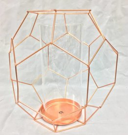 Bloomingville Copper Metal Geometric Votive Holder with Glass Insert