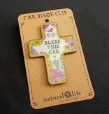Natural Life Car Visor Clip - Natural Life Bless This Car, Cross