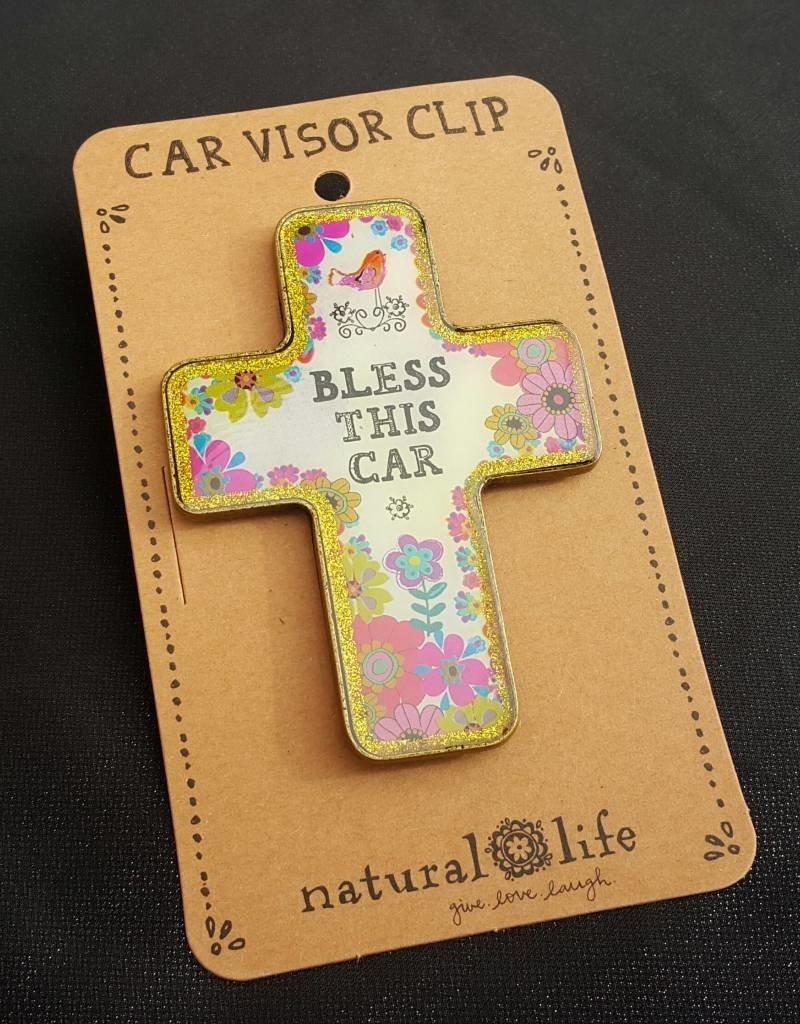 Natural Life Car Visor Clip - Natural Life Bless This Car, Cross