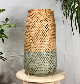 Bloomingville Natural & Sky Blue Bamboo Lantern with Glass Insert