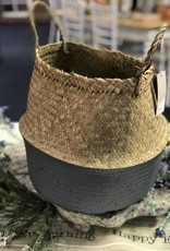 Bloomingville Natural & Grey Seagrass Basket with Handles
