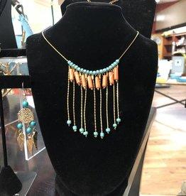 KurtMen Long Bead Necklace Orange/Turquoise
