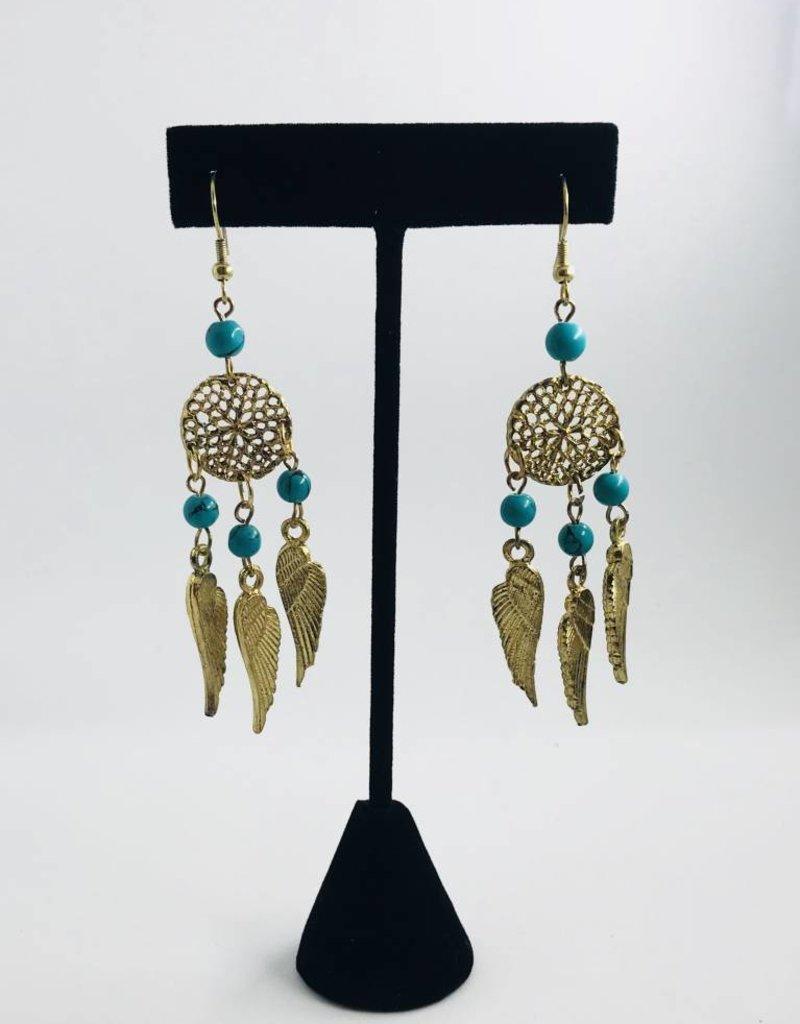 KurtMen Dream Catcher Turquoise Earrings