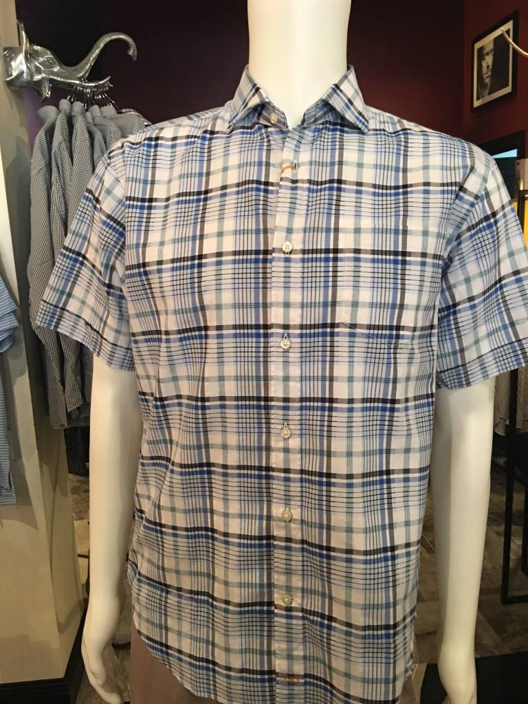 Thomas Dean Thomas Dean Blue/White Plaid Button Down