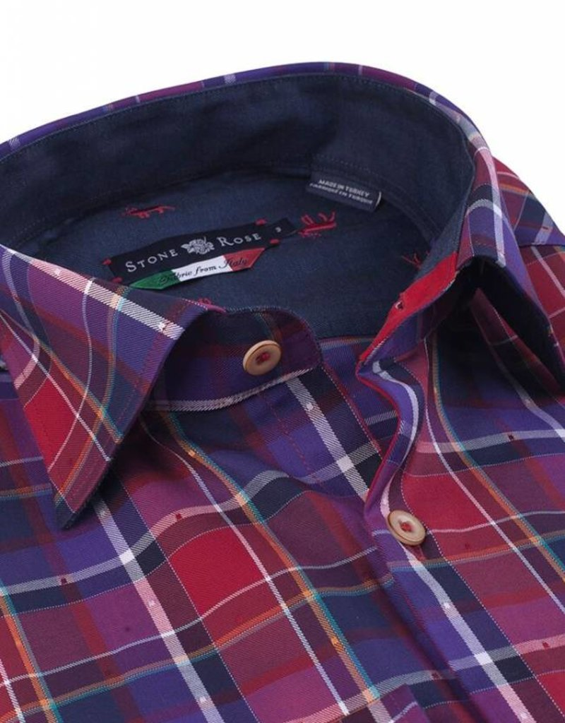 Stone Rose Stone Rose- Dobby Plaid Reindeer Dress Shirt